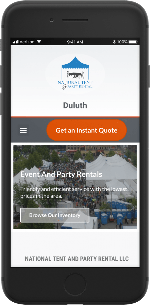 National Tent and Party mobile view