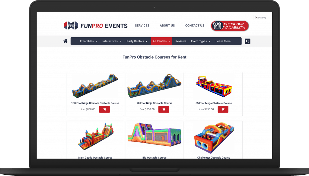 FunPro Events Product page view