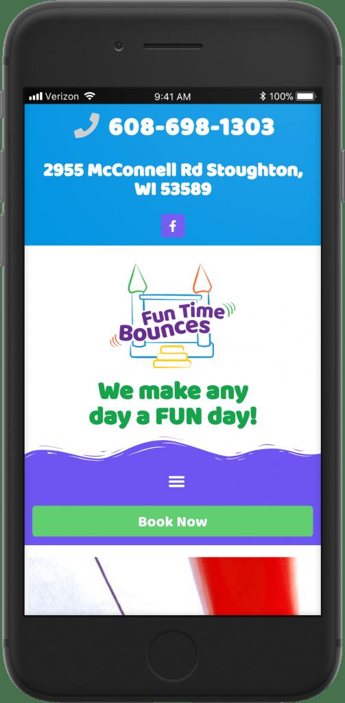 Fun Time Bounces mobile view